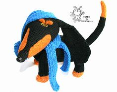 Dachshund - knitting pattern (knitted round)