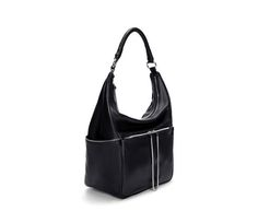 Black leather bucket #bag with zips by Zara.