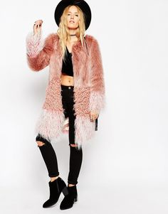 Image 1 of ASOS Coat in Patch Faux Fur