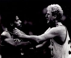 "Option #1: Boston Celtics - Larry Bird & Julius Irving ""Fight"" - 8""x10"" Photo with Clear Protective Sleeve $19.95"