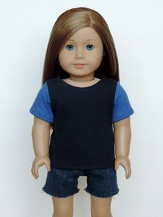 Upcycled Blue Tee - American Girl or Boy Doll Clothes