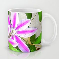 FREE Worldwide Shipping and $5 OFF Today! Clematis Trio Mug by Shelia Kempf ArtWorks - $15.00