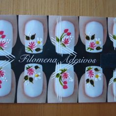 Adesivo de Unha Artesanais ,unhas no Manicure, Nails, Nail Arts, Nail Designs, Cool Easy Nail Designs, White Nail Designs, Simple Nail Design, Flowers, Nail Manicure