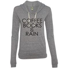 Coffee Books and Rain Ladies Eco-Jersey Classic Hooded Pullover ($35) ❤ liked on Polyvore featuring tops, hoodies, shirts, blue, sweatshirts, women's clothing, blue shirt, hooded sweatshirt, pullover sweatshirts and sweatshirts hoodies
