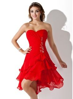 Sheath Sweetheart Short/Mini Chiffon Homecoming Dresses With Ruffle Beading (022009369)