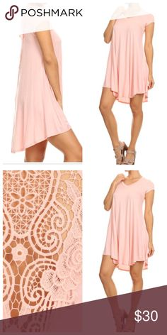 Lace back dress ONE HOUR SALE Light pink lace back swing dress PLEASE USE Poshmark new option you can purchase and it will give you the option to pick the size you want ( all sizes are available) BUNDLE And SAVE 10% ( sizes updated daily ) Dresses