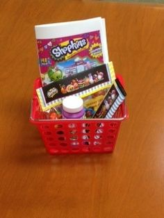 Favor basket for Shopkins 8th Birthday Party