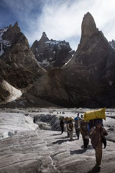 Crossing the Glacier. Porters carrying bags and necessary gear across the Biafo Glacier during Snow Lake - Hispar La Trek.  Marphogoro Camp, Pakistan. (V)
