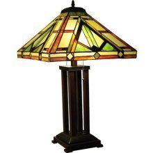 """Tiffany Style Stained Glass Table Lamp Mission Design With 18"""" Shade"""