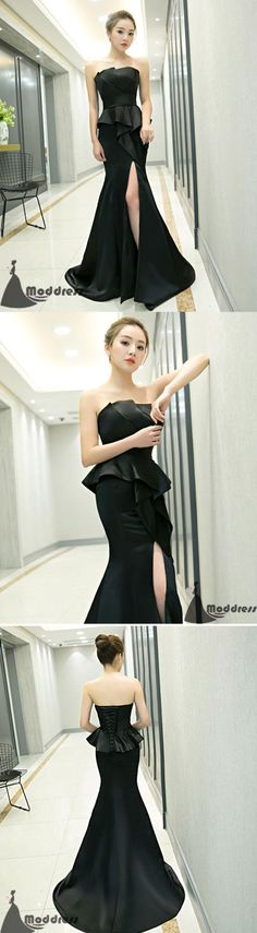 Black Long Prom Dress Mermaid Evening Dress Strapless Formal Dress with High Slit.  #fashion #shopping #dresses #eveningdresses #2018prom
