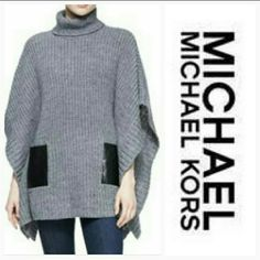 MICHAEL KORS turtleneck sweater w/pockets Be styling and chic in this Michael Kors turtleneck sweater!! Warm and cozy perfect for this winter season! Pairs perfectly with leggings or skinny jeans and boots! Pearl heather knit with ribbed trim and faux leather pockets.Turtleneck.Three-quarter poncho sleeves(as seen in modeled pic#1).Front slip pockets.Loose silhouette.  70%Acrylic/30%alpaca wool. Size small Brand new with tag Michael Kors Sweaters
