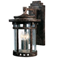 Seeded Glass Prairie Style Outdoor Wall Lantern - Large bronze