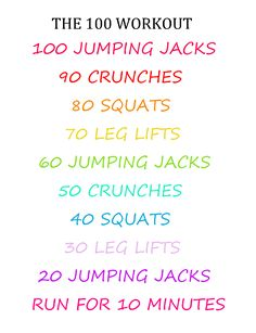 THE 100 WORKOUT... No excuses not to do at least this 3 times a week!