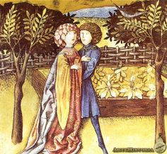 Couple embrace in a garden from the Codex Granatensis, made in Vienna in the first quarter of the 15th century