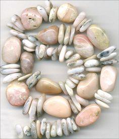 """Pink Opal Beads~Glowing Pink~Peruvian~Smooth Nuggety Ovals 20"""" Long Strand"""