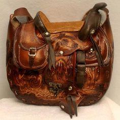 8f97387653b3 Leather Hand Tooled Saddle Purse Leather Tooling