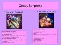 Onces Sorpresa Four Square, Save The Date, Ideas, Gift Ideas, Gifts, Surprise Gifts, Garlic Dip, Gift Boxes, Afternoon Snacks