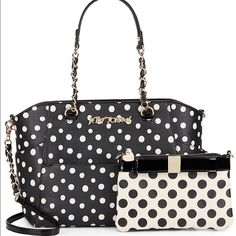 """Betsey Johnson Hidden Treasures Polka Dot Purse Cute and super resourceful Betsey Johnson Hidden Treasures Polka Dot Purse Includes complimentary pouch! Double top handles with 10"""" drop. Removable shoulder strap with 17"""" drop. Size: 12""""W x 10""""H x6"""" D. Gold hardware. Material polyurethane. New with tags retail price $148.  PLEASE NOTE PRICE FIRM PRICE FIRM Betsey Johnson Bags Shoulder Bags"""