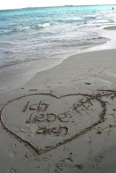 Ich liebe Dich auf dem Strand