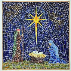 Stunning mosaic Nativity quilt by I'm Working on a Project    check out the FMQ golden angels!