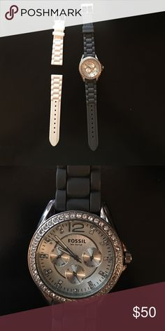 Fossil Watch Lightly worn. Two bands: dark gray and white. Interchangeable. Fossil carries other colors of bands. Fossil Accessories Watches