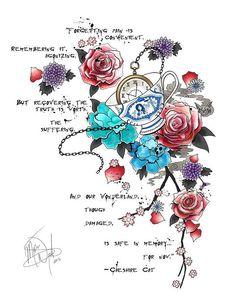Quotes Alice In Wonderland Lewis Carroll Tattoos Super Ideas Body Art Tattoos, New Tattoos, Sleeve Tattoos, Cool Tattoos, Tatoos, Alice In Wonderland Flowers, Alice And Wonderland Quotes, Alice In Wonderland Tattoo Sleeve, Wonderland Party