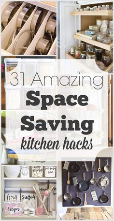 Space saving ideas for the kitchen are always needed. These cheap, easy hacks will help find space in your kitchen you never knew you had! #28 is my favorite! #diykitchen #kitchenremodel