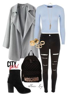 """City Girl"" by gloriakay on Polyvore featuring rag & bone, River Island, Topshop, Moschino, Pieces and Roberto Cavalli"