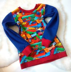 Langarmshirt Bausteine * Gr. 110 * Kind Mode, Wetsuit, Arm, Shirts, Etsy, Swimwear, Fashion, Building Block Games, Guys