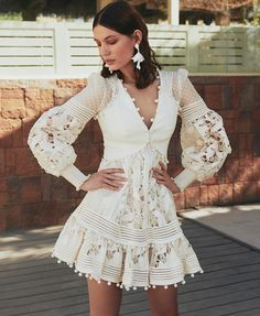 Hollowed Out Embroidered Lantern Dress s. Cheap Dresses, Casual Dresses, Short Dresses, Mini Dresses, Elegant White Dress, White Lace, Boho Fashion, Fashion Dresses, Vestidos Vintage