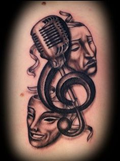 to get it but i totally want it theatre mask tattoo theatre tattoo Love Music Tattoo, Music Tattoo Designs, Music Tattoos, Tatoos, Microphone Tattoo, Guitar Tattoo, Teatro Musical, Musical Theatre, Badass Tattoos