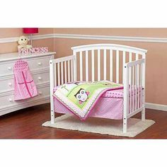 Dream On Me Baby Owl 4-Piece Reversible Portable Crib Bedding Set