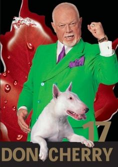 Don Cherry.anyone who watched Hockey Night in Canada knows who he is.nuff said : ) Don Cherry, Canadian Things, Boston Bruins Hockey, Bully Dog, O Canada, English Bull Terriers, Sports Figures, Hockey Cards, National Hockey League