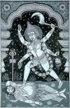 The Dark Tantrik Goddess. Paata Painting on Tussar Silk Fabric Folk Art from the Temple Town of Puri (Orissa) Artist Rabi Behera. Kali Goddess, Mother Goddess, Magie Du Chaos, Zentangle, Buddhism Symbols, Mythological Characters, Kali Ma, Tibetan Art, Traditional Paintings