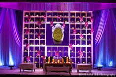 Ideas for indian wedding reception that is modern and purple.