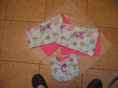 handmade embroidered burp cloths and bib
