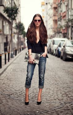 denim jeans with chic top