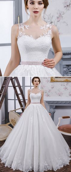 NEW! Chic Tulle & Organza Jewel Neckline Ball Gown Wedding Dress With Lace Appliques & Belt