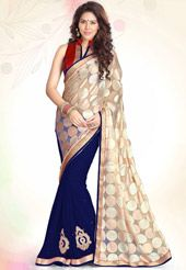 Beige Faux Georgette Brasso and Faux Chiffon Saree with Blouse