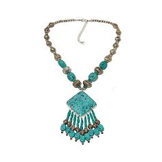 "$39.95....   BAJALIA ""Soma"" Turquoise-Color Beaded Necklace"