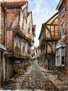 Painting by Reg Siger - specialising in depicting old cottages, farmhouses, village and town scenes.