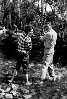 theniftyfifties:  Ava Gardner and Gregory Peck go fishing, 1952.