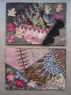 I ❤ crazy quilting, beading & embroidery . . . 2 Autumns cards for a swap in CQWW  ~By Margreet's Draadjespaleis