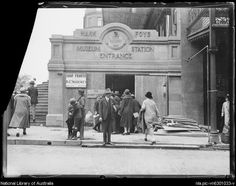 Group of people walk through the entrance of Museum Railway Station,Sydney, in the from National Library of Australia. Sydney City, Sydney Area, Old Images, Old Photos, Sydney Australia, Western Australia, Train Tunnel, Australian Continent, Largest Countries
