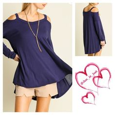 Shoulder Cut Out Top Basic Top with Shoulder Cut Outs  Fabric: COTTON BLEND. Color is Navy looks like a purple to me and navy to my daughter.. I say navy purplish pretty color!!  Woman's size Small (2-4) Medium (6-8) Large (10-12).  Any questions please ask.  No trades  ✅ Reasonable offers welcomed. ✅ Happy Poshing  Tops