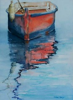 Seascape Painting - Red Dinghy by Celene Terry Sailboat Painting, Boat Art, Art Society, Seascape Paintings, Painting Inspiration, Painting & Drawing, Watercolor Paintings, Watercolours, Fine Art America