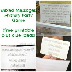 This mixed messages mystery party game includes a free printable game with clues to get you started along with instructions on how to make your own in Word.