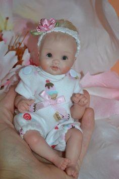 "Original Art OOAK Polymer Clay baby doll girl 7"" Kristina by Yulia Shaver"