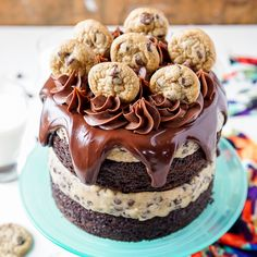 This Chocolate Chip Cookie Dough Cake is made with two layers of delicious chocolate cake and two layers of edible cookie dough!