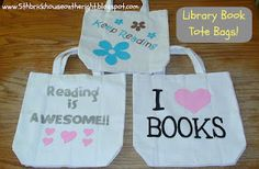 Stenciled Library Book Bags
